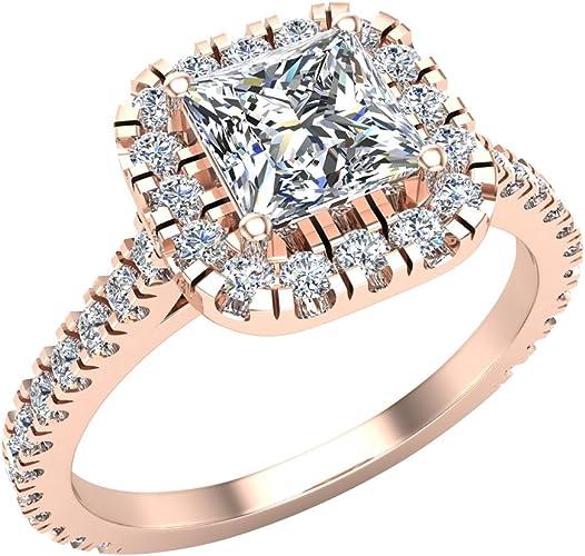 Amazon Com Princess Cut Cushion Halo Diamond Engagement Ring For Women 1 30 Ctw 14k Gold G I1 Jewelry