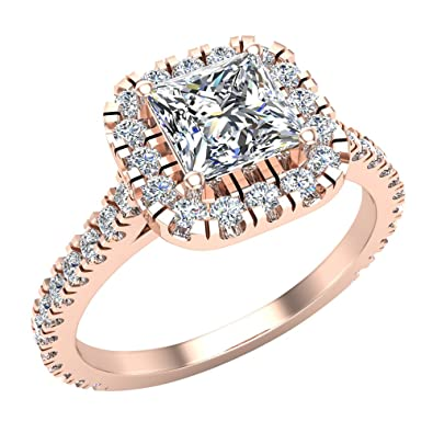 Princess Cut Cushion Halo Diamond Engagement Ring For Women 1 30 Ctw