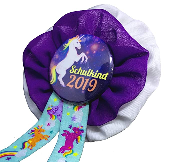 Orden Button Anstecknadel Rosette Einschulung Schulkind lila Schultüte Geschenk