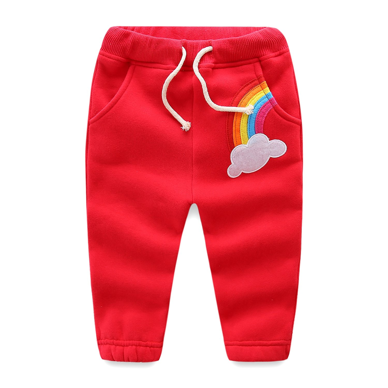UWESPRING Baby Girl Cartoon Rainbow Pants Kids Fleece Sports Trousers