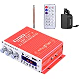 NKTECH DC 12V 3A Power Supply Mini HY-V10 FM/MP3/USB/TF/DVD Audio Car Bluetooth High-Power Digital Amplifier HiFi Bass 2-Channel DSP 2 x 20W RMS Player Red With Remote Controller