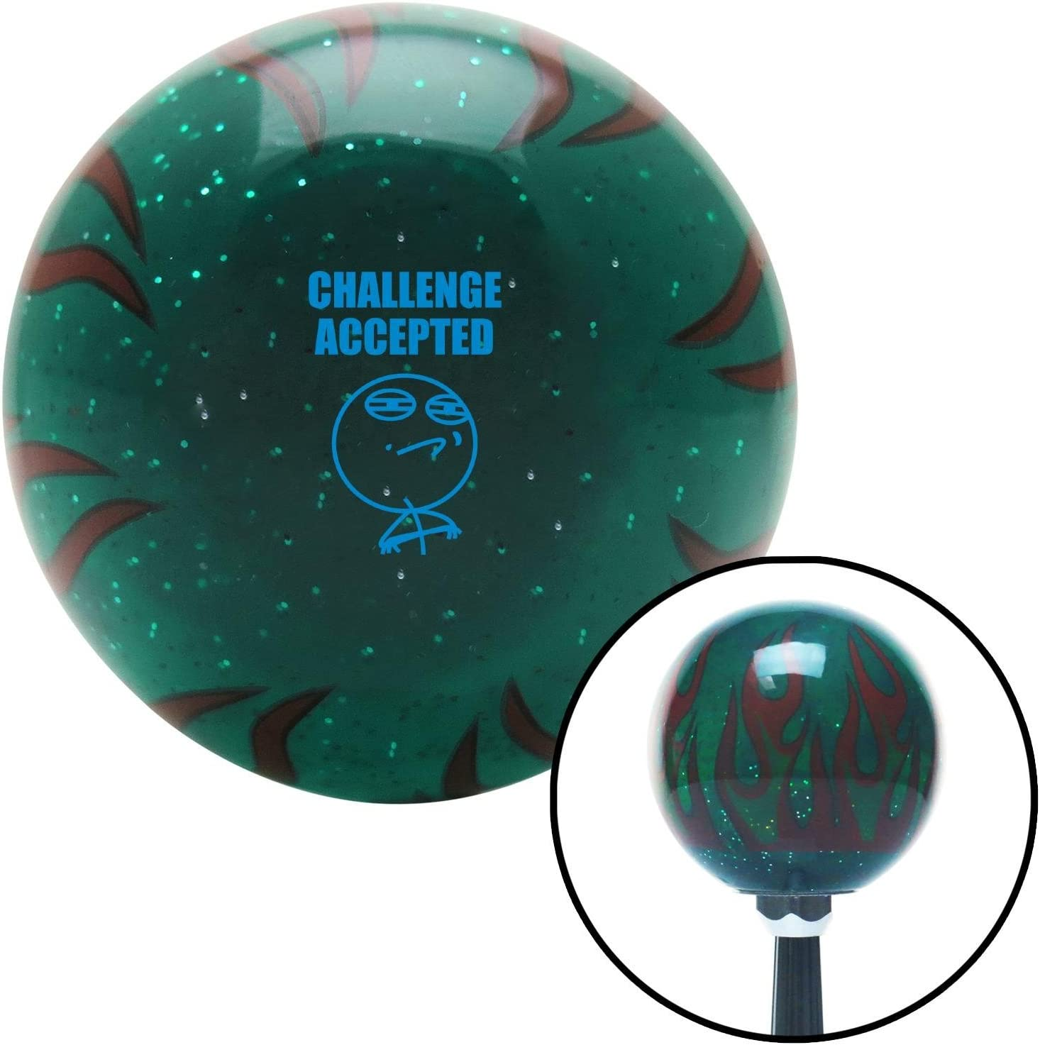 Blue Challenge Accepted Green Flame Metal Flake with M16 x 1.5 Insert American Shifter 300063 Shift Knob