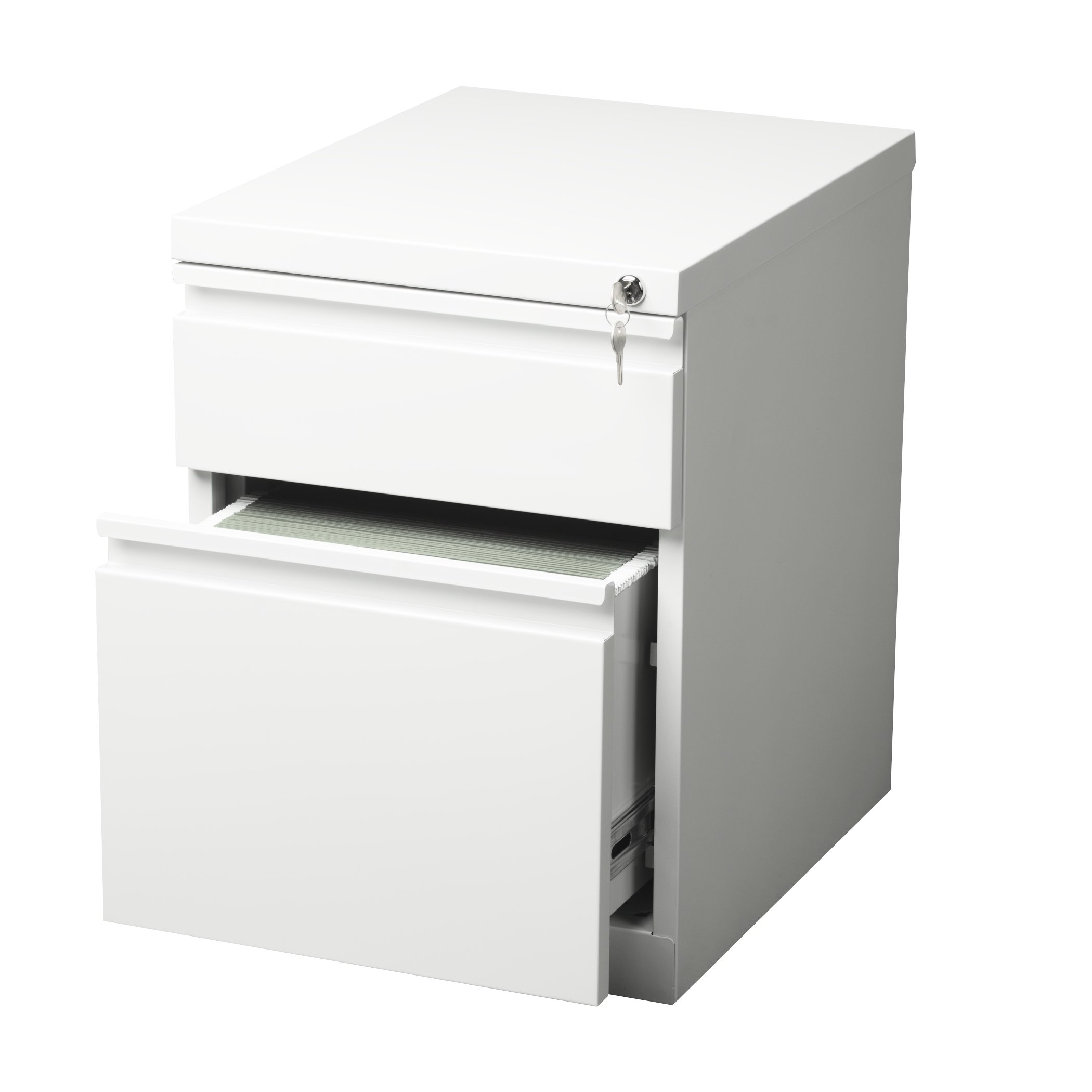 Office Dimensions 20'' File Cabinet w/ Storage Drawer, File Drawer and Concealed Wheels