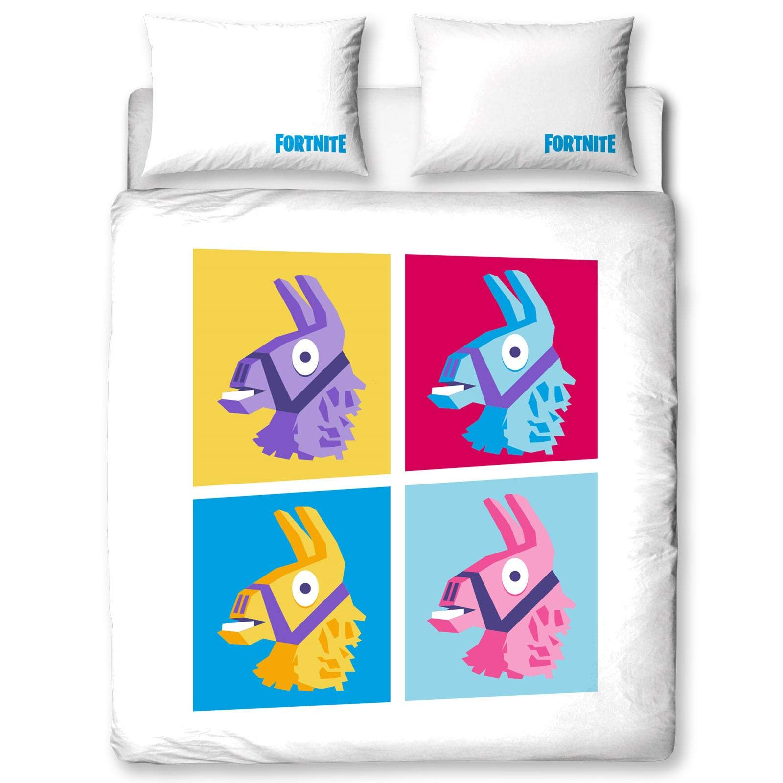 Character World Fortnite Single Llama Design | Reversible Two Sided Battle Royale Bedding Duvet Cover with Matching Pillow Case, Multi Coloured (US Full Duvet)