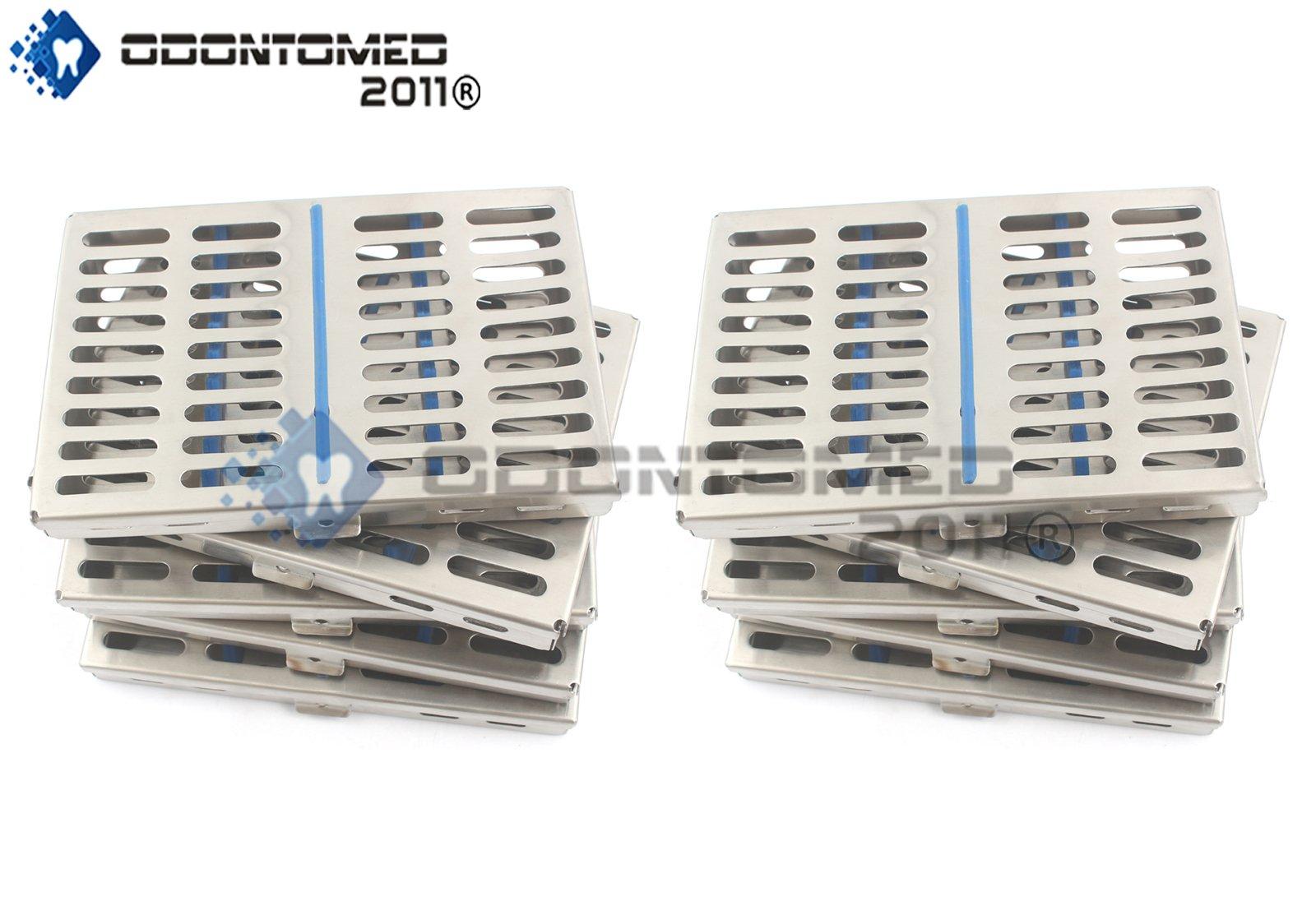 OdontoMed2011 GERMAN GRADE STEEL SET OF 10 DENTAL AUTOCLAVE STERILIZATION CASSETTE RACK BOX TRAY FOR 10 INSTRUMENT ODM