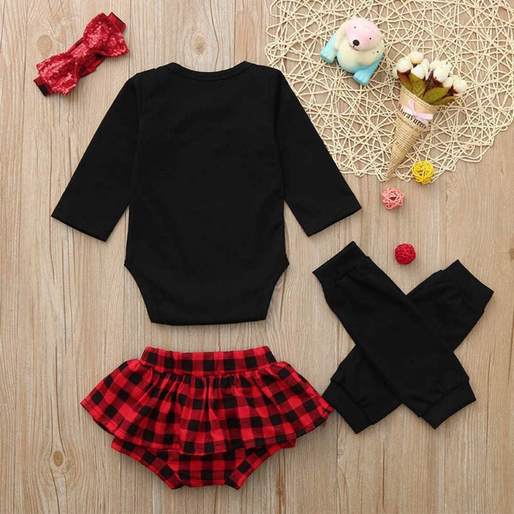 Neugeborenes Baby M/ädchen Rock Mein erster Geburtstag Outfits schwarzer Strampler rot Kariertes Kleid mit Beinw/ärmer Stirnband