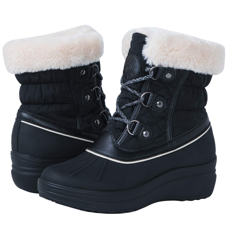 Globalwin Women's 1823 Black Wedge Snow Boots 11M