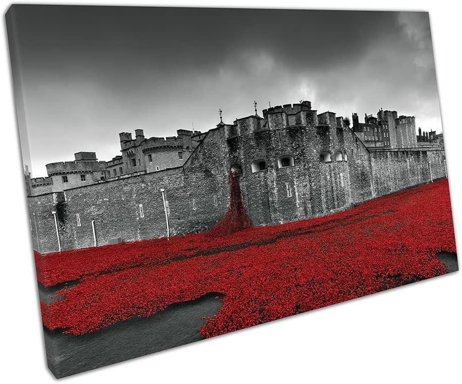 TOWER OF LONDON POPPIES CANVAS PRINT PICTURE WALL ART FREE FAST DELIVERY