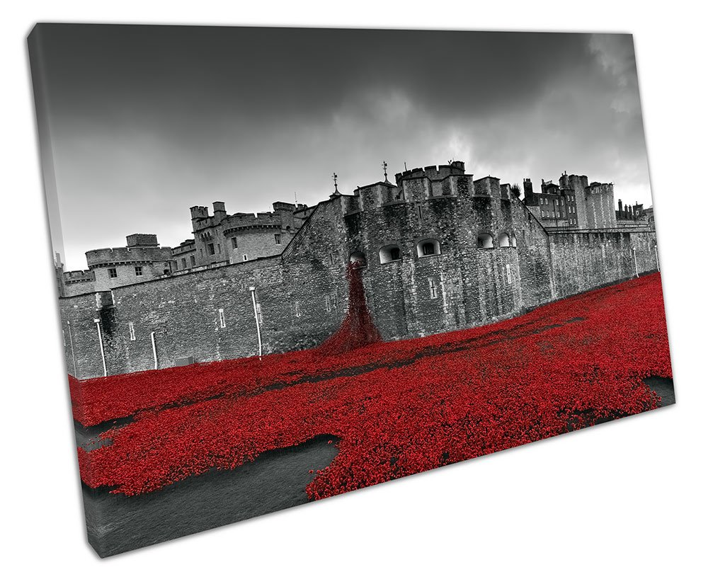EACanvas TOWER OF LONDON RED POPPIES CANVAS WALL ART PICTURE LARGE 75 X 50 CM EvolutionArt