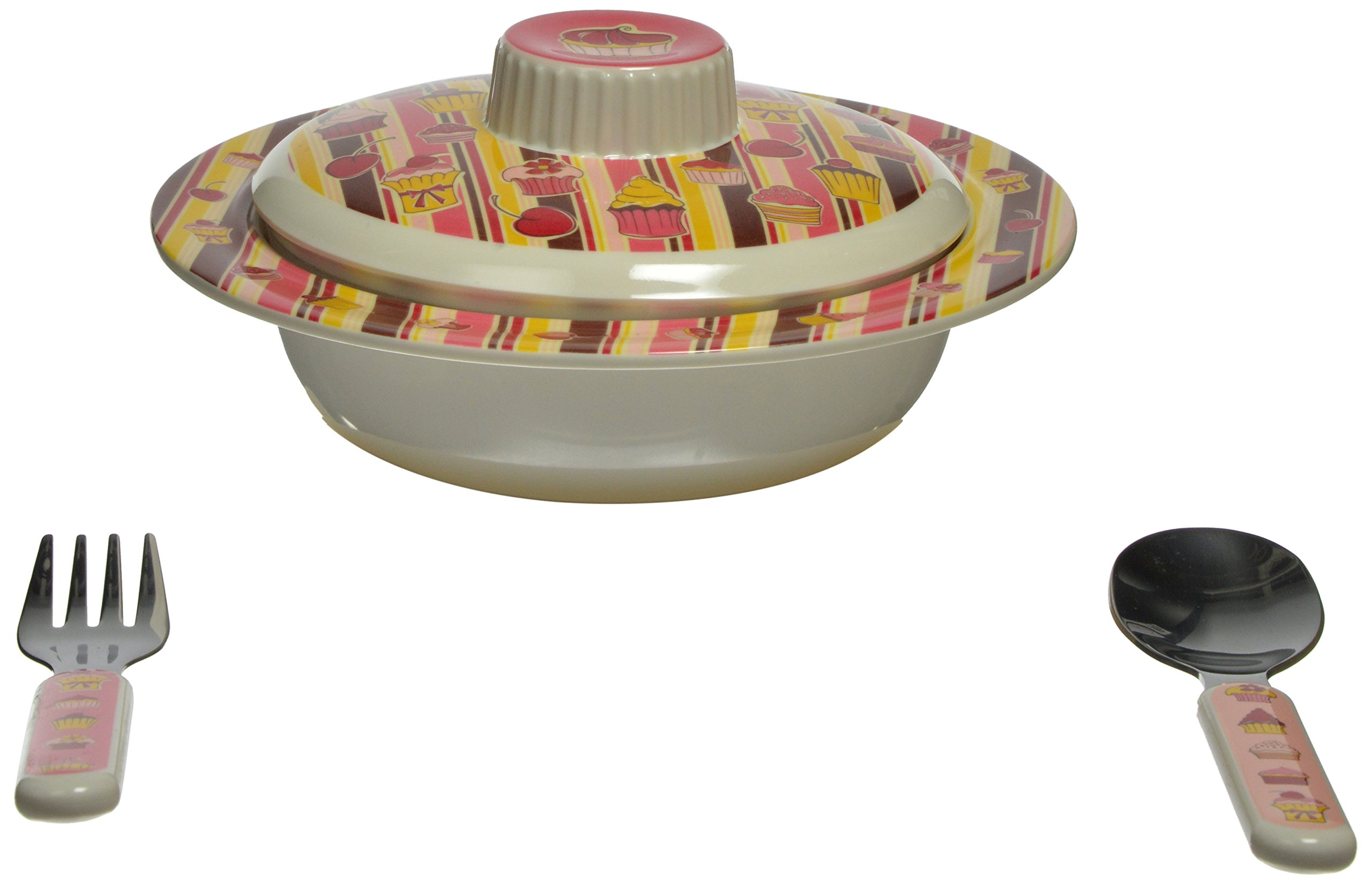 Sugarbooger Covered Suction Bowl Gift Set, Cupcake