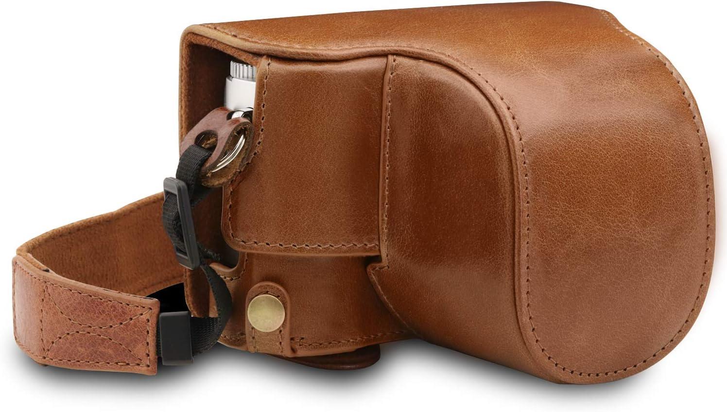 MegaGear Estuche Ever Ready, Funda de Pronto Uso de Cuero auténtico, con Correa Compatible con Leica D-Lux 7