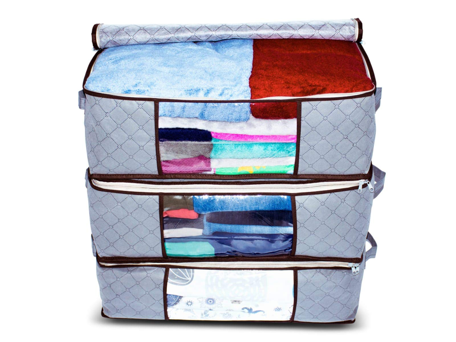 Rokeda Foldable Fabric Storage Bag Organizer, Clear Window, Handles, Extra Strong Zipper, Perfect for bedrooms, Closets, Blanket, Clothes, Garage