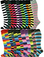 Mysocks® Unisex Knee High Long Socks Stripe Extra Fine Combed Cotton