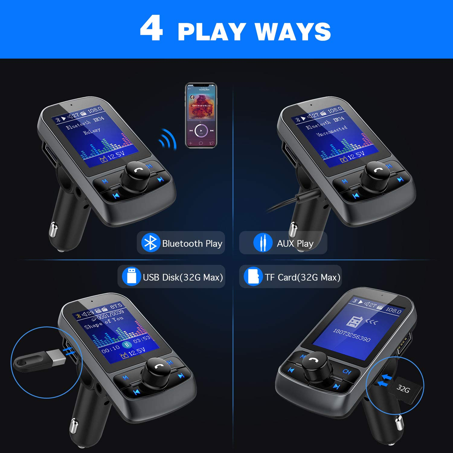 Fm Transmitter Nulaxy 18 Color Screen Bluetooth Simple Radio Circuit Use Your Mobile Phones Wireless In Car Adapter W Battery Voltage Reading Handsfree Calling