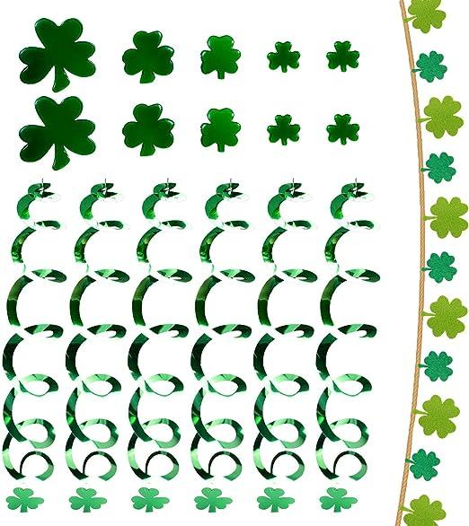 St Patricks Day Shamrocks Swirl Garland DECORATIONS hanging SWIRLS Banner