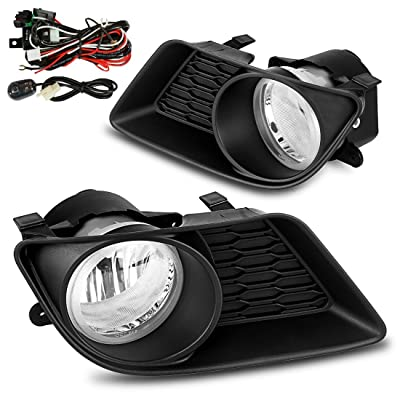 AUTOSAVER88 Fog Lights H10 12V 42w Halogen Lamp Compatible with Dodge Charger 2011 2012 2013 2014 (Clear Lens with Bulbs & Wiring Harness,Lamp Molding Bracket) Do not Compatible with SRT8 models: Automotive