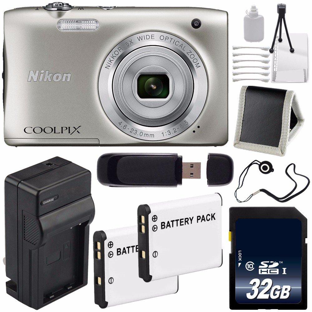 Nikon Coolpix s2900デジタルカメラ(シルバー)インターナショナルモデル保証なし+ EN - el19交換用リチウムイオン+外部バッテリー急速充電器+ 32 GB SDHCクラス10メモリカード+ SDカードUSBリーダー+メモリカード財布+レンズキャップキーパー+デラックススターターキット6 Aveバンドル   B01250BGUA
