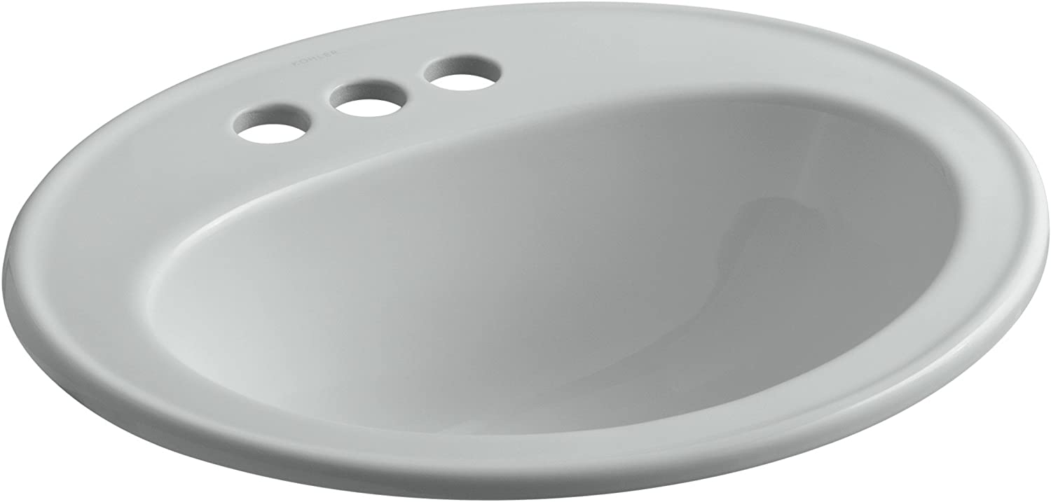 KOHLER K-2196-4-95 Pennington Self-Rimming Bathroom Sink, Ice Grey