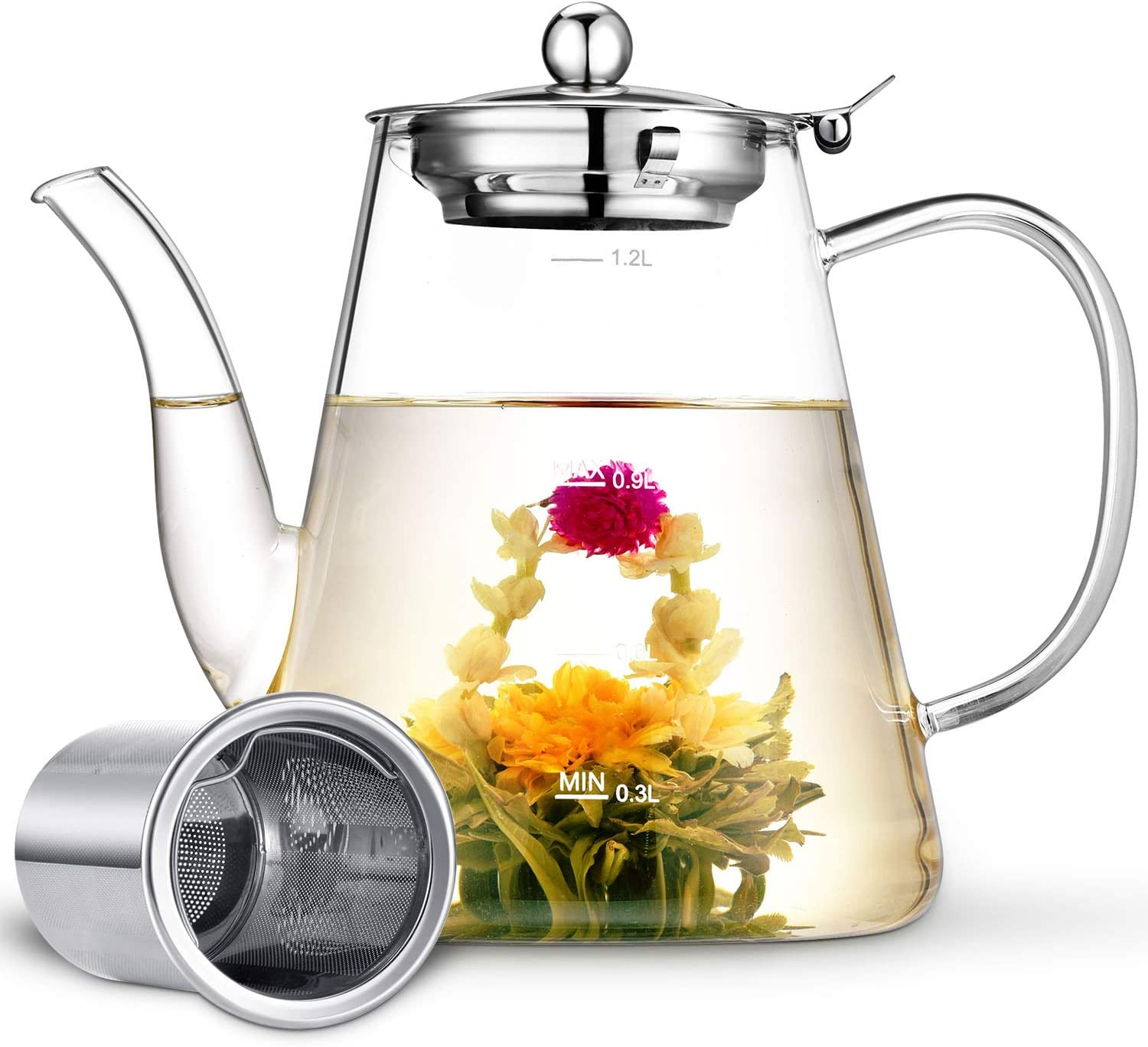 Glass Teapot, Zpose Tea Pot, Teapots, 40oz/1200ml Tea Pots with Scale Line, Tea Pot with Infuser, Borosilicate Glass Teapot for Stovetop Safe, Tea Pot for Tea