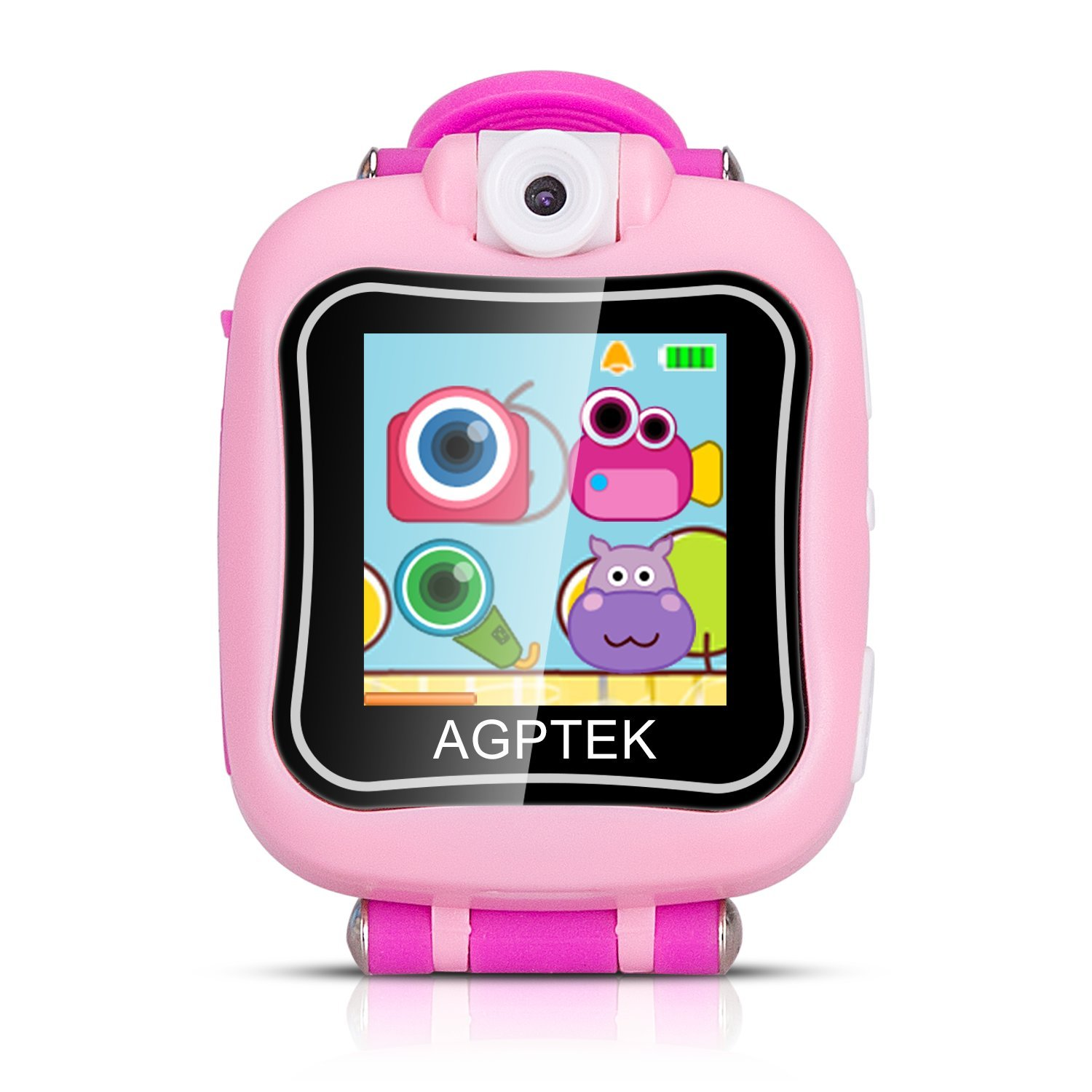 AGPTEK Kid Smartwatch for Girls, Smart Watch with HD Touch Screen, Rotating Camera, Games, Alarm Clock, Video, Recordings, Stopwatch, Pink