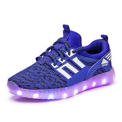 Yeeper LED Leuchtende Bunte Sneaker Turnschuhe Unisex Kinder Jungen Mädchen USB Auflade Sportschuhe Leichte Schuhe 1832 Blau 27 QqN4O