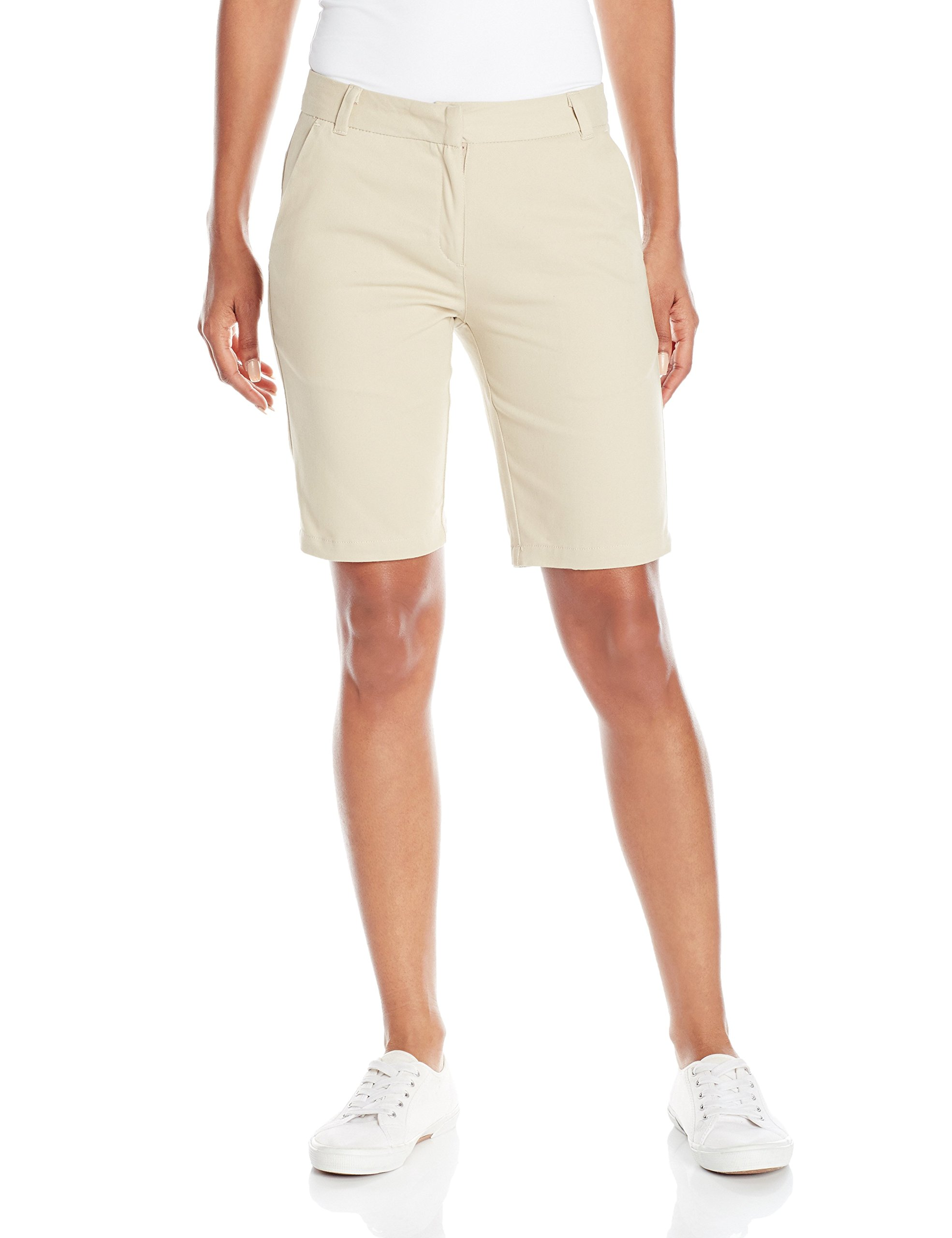 IZOD Junior's Uniform Stretch Twill Skinny Bermuda Short, Khaki, 7