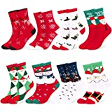 Fixget Calcetines de Navidad, 8 Pares Navidad de invierno Calcetines de Algodón, Calcetines Térmicos de Navidad con…