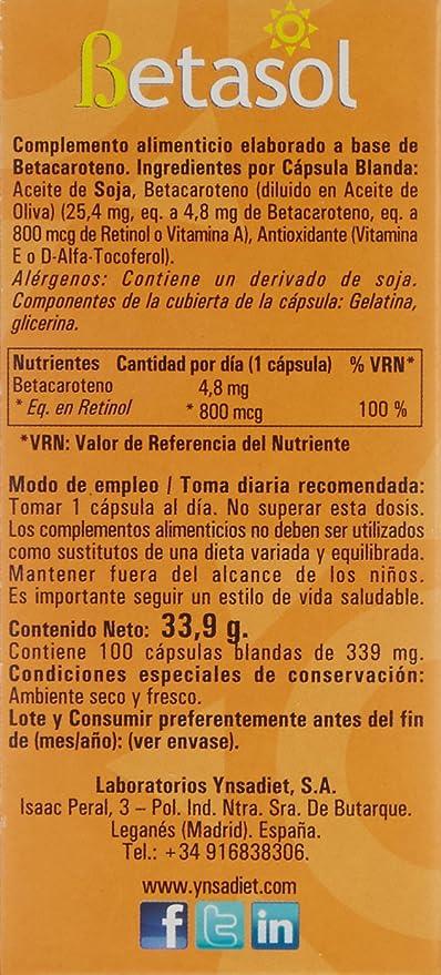 Hijas Del Sol Betasol Perlas Betacaroteno - 100 Cápsulas Blandas: Amazon.es: Salud y cuidado personal