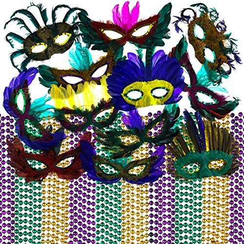 Mardi Gras Beads & Feather Masks Party Pack With 4E's Novelty Emoji Stickers
