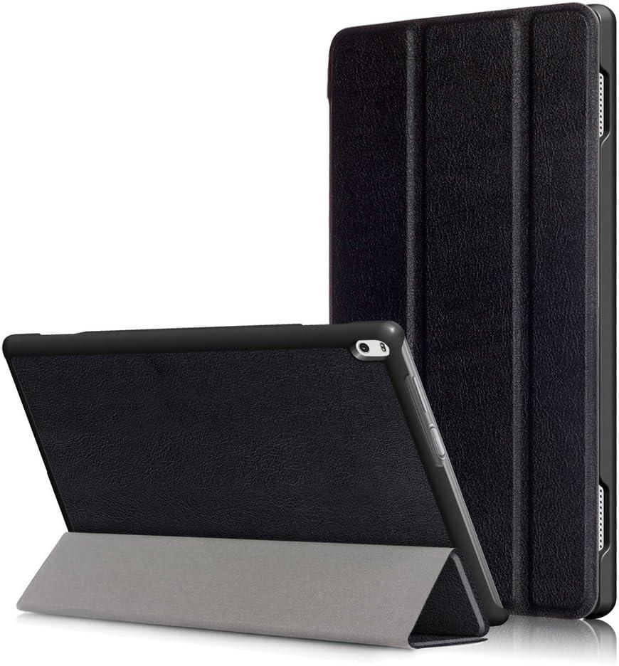 Kepuch Custer Case for Lenovo Tab 4 10 Plus TB-X704F TB-X704N,Ultra-Thin PU-Leather Hard Shell Cover for Lenovo Tab 4 10 Plus TB-X704F TB-X704N - Black