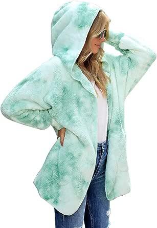 LookbookStore Women's Casual Tie Dye Winter Open Front Hooded Draped Pocket Fleece Cardigan Fuzzy Outerwear Jacket Sherpa Coat Multicoloured Opal Green Size XX-Large