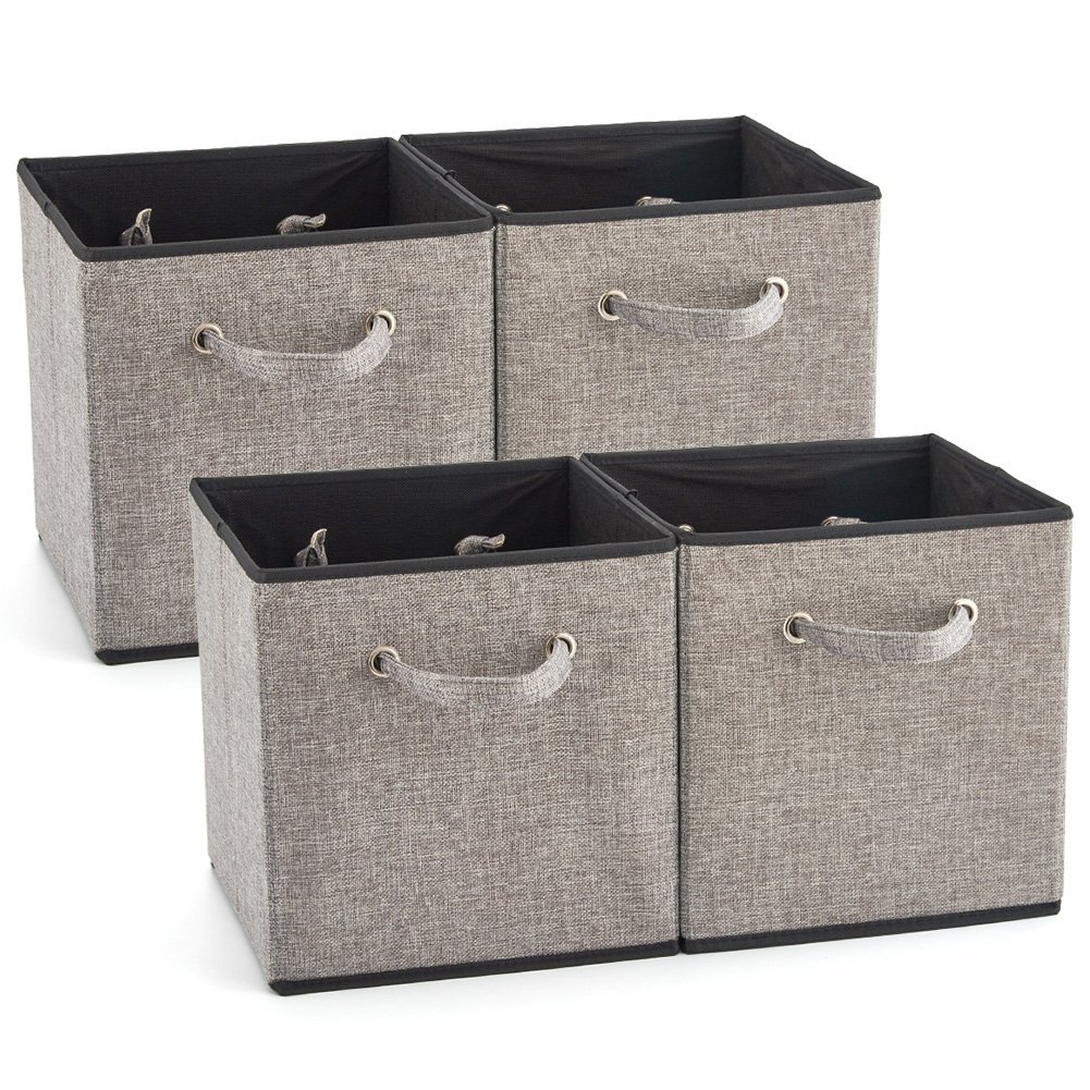 EZOWare 4 Pack Fabric Foldable Cubes Bin Organizer Container with Handles for Drawer, Nursery, Closet, Office, Home - Gray (26.7x 28x26.7cm)