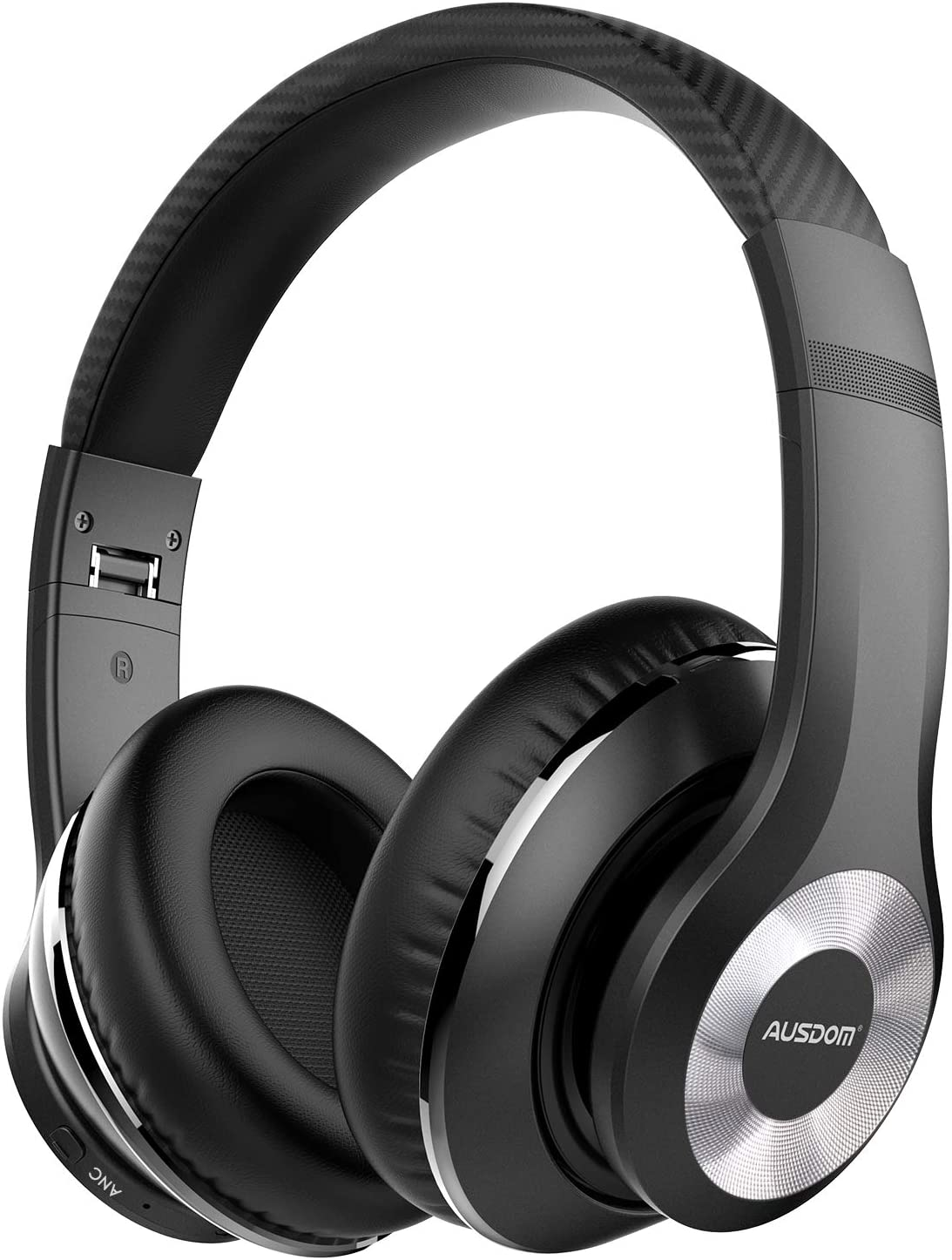 AUSDOM ANC10 Wireless Active Noise Cancelling Headphones, Bluetooth 5.0 Over Ear Headphones with Mic, Soft Foldable Earpads, Hi-Fi Deep Bass Headset for Travel Work TV PC Mobile Airplane-Black