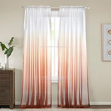 GWELL Farbverlauf Transparent Voile Gardinen Vorhang Dekoschal Für  Wohnzimmer Schlafzimmer 1er Pack Orange 100x160cm