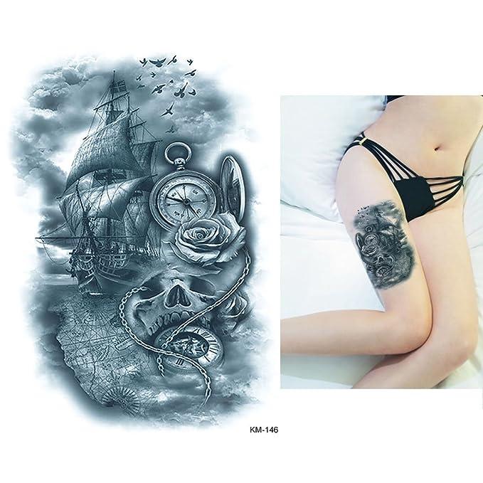 Brújula Reloj de bolsillo Barco Tattoo Arm Tattoo km146: Amazon.es: Belleza