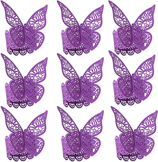50 Butterfly Paper Wedding Party Napkin Rings Serviette Prom Table Decoration