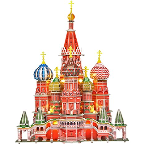 Cubicfun 3d Puzzles Russia Cathedral Led Architecture Building Church Craft Model Kits Toys For Adults Stbasils Cathedral Lighting Up In Night