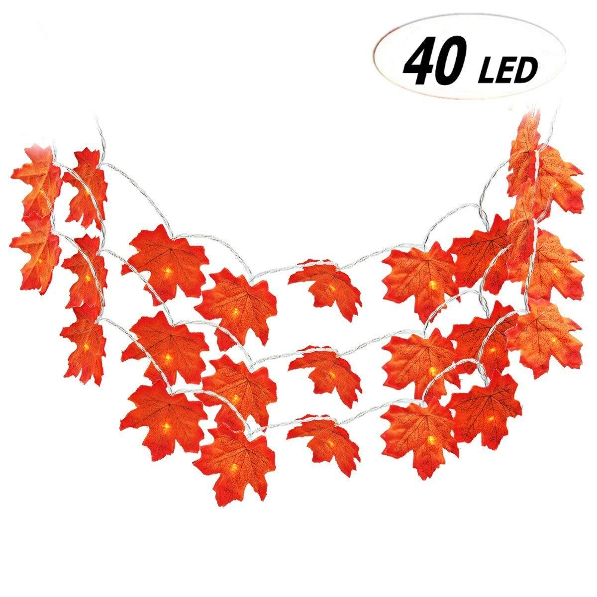Fall Maple Leaf Decorations Light, Keepack Autumn Garland 4M 40 Lights Battery Powered Fall Garland Maple Leaf Lights