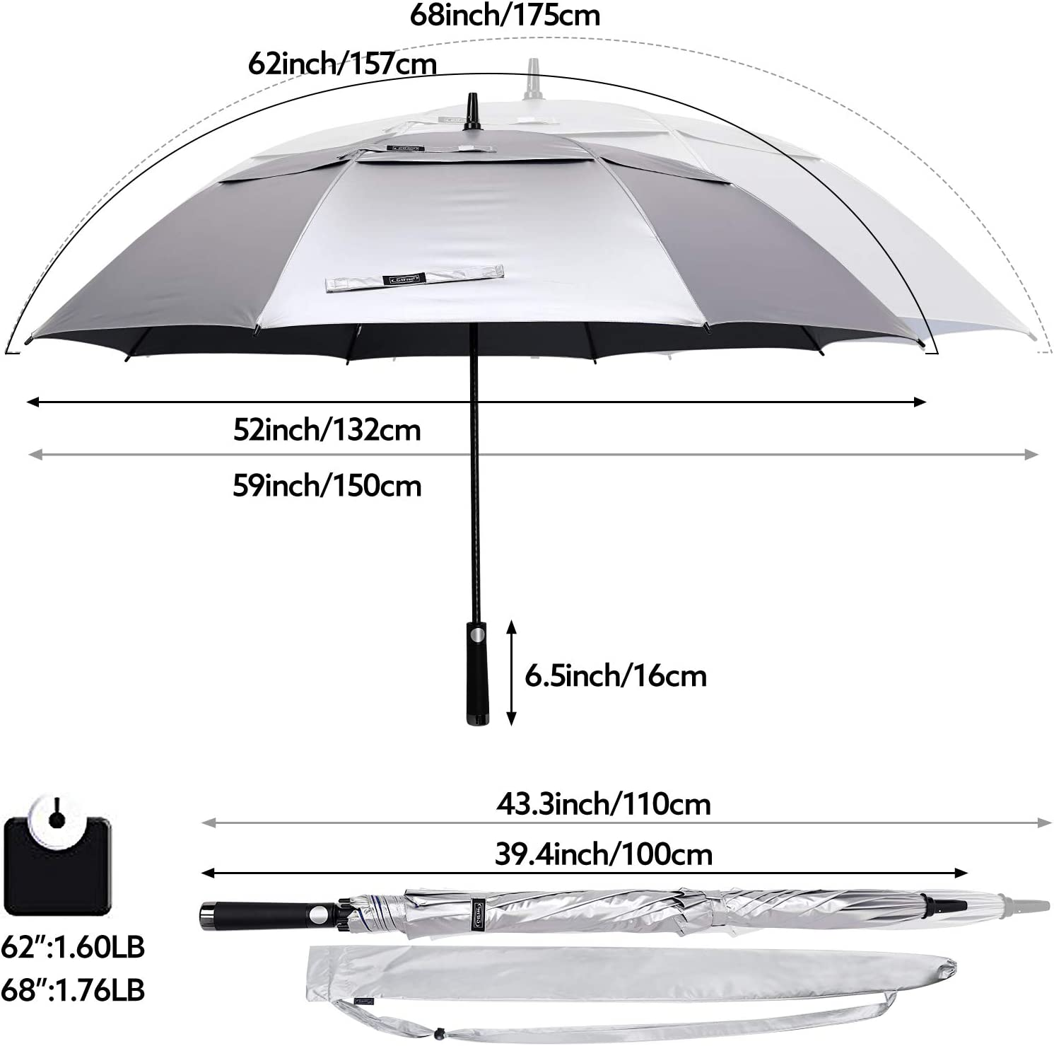 G4Free 62//68 Inch UV-Schutz Winddicht Sonnen und Regenschirm Golfschirm Autorisches /Öffnen Doppelbaldachin Bel/üftet /Übergr/ö/ße f/ür Herren und Damen