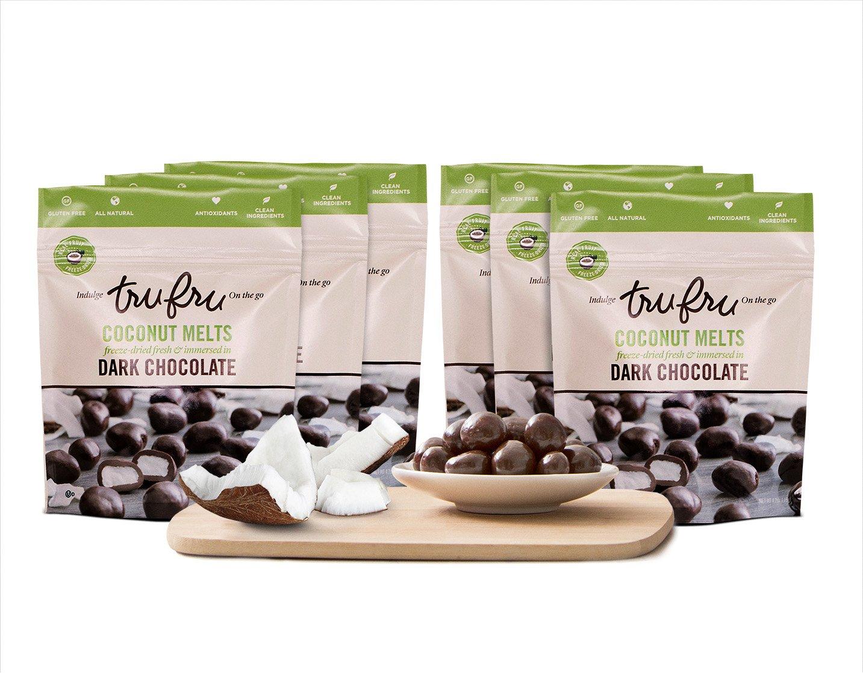 Tru Fru Dark Chocolate Dipped Freeze-Dried Coconut Melts (4.2 oz), 6-Pack Case