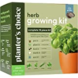 Planters' Choice Organic Herb Growing Kit + Herb Grinder - Complete Kit to Easily Grow 4 Herbs from Seed (Basil…