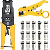Proster Multifunctional Coax Compression Connector Adjustable Cable Stripper Wire Cutter Cable Crimper With 15 RG59 F