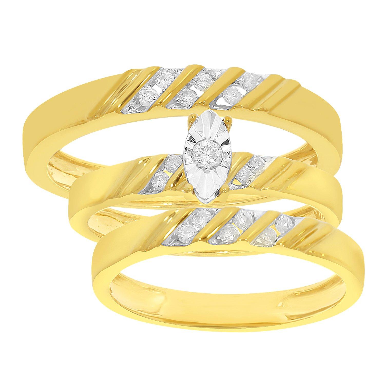 1/4 cttw Natural Diamond 10k Yellow Gold Engagement His & Her Bridal Set Ring Band Trio Set