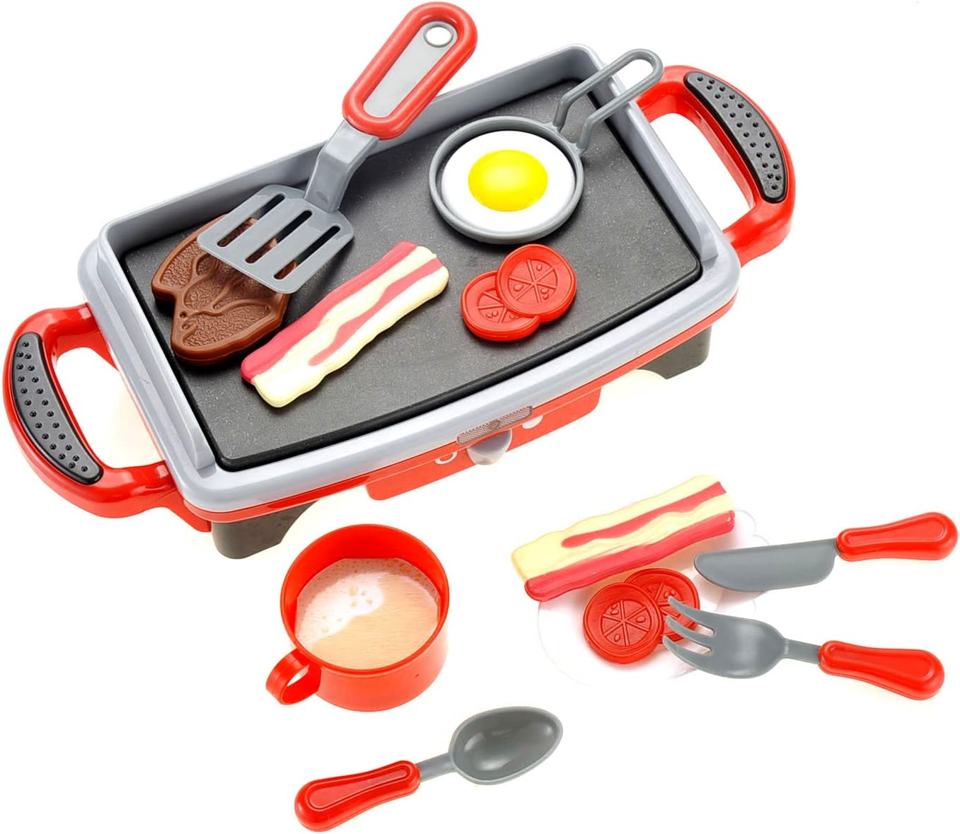 PowerTRC Breakfast Griddle Electric Stove Play Food Kitchen Grill Set for Kids
