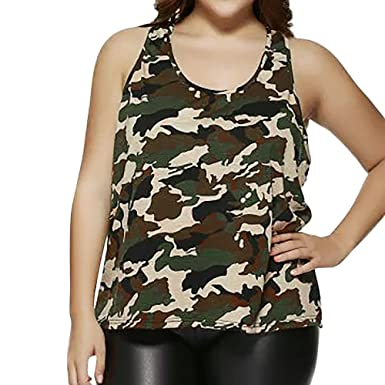 1585e97b10 HGWXX7 Women Summer Casual Plus Size Camouflage Sleeveless Vest Blouse Tank  Tops (S, Army