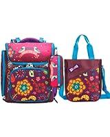 Moonwind Girl Backpacks for School Kids Book Bags Pencil Lunch Bag Floral Bird