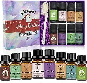 yethious Chamomile Orange Peppermint Apple Lavender Coconut Lemongrass Eucalyptus Essential Oil Set 100% Pure 8 Pack for Christmas Aromatherapy Massage Oils