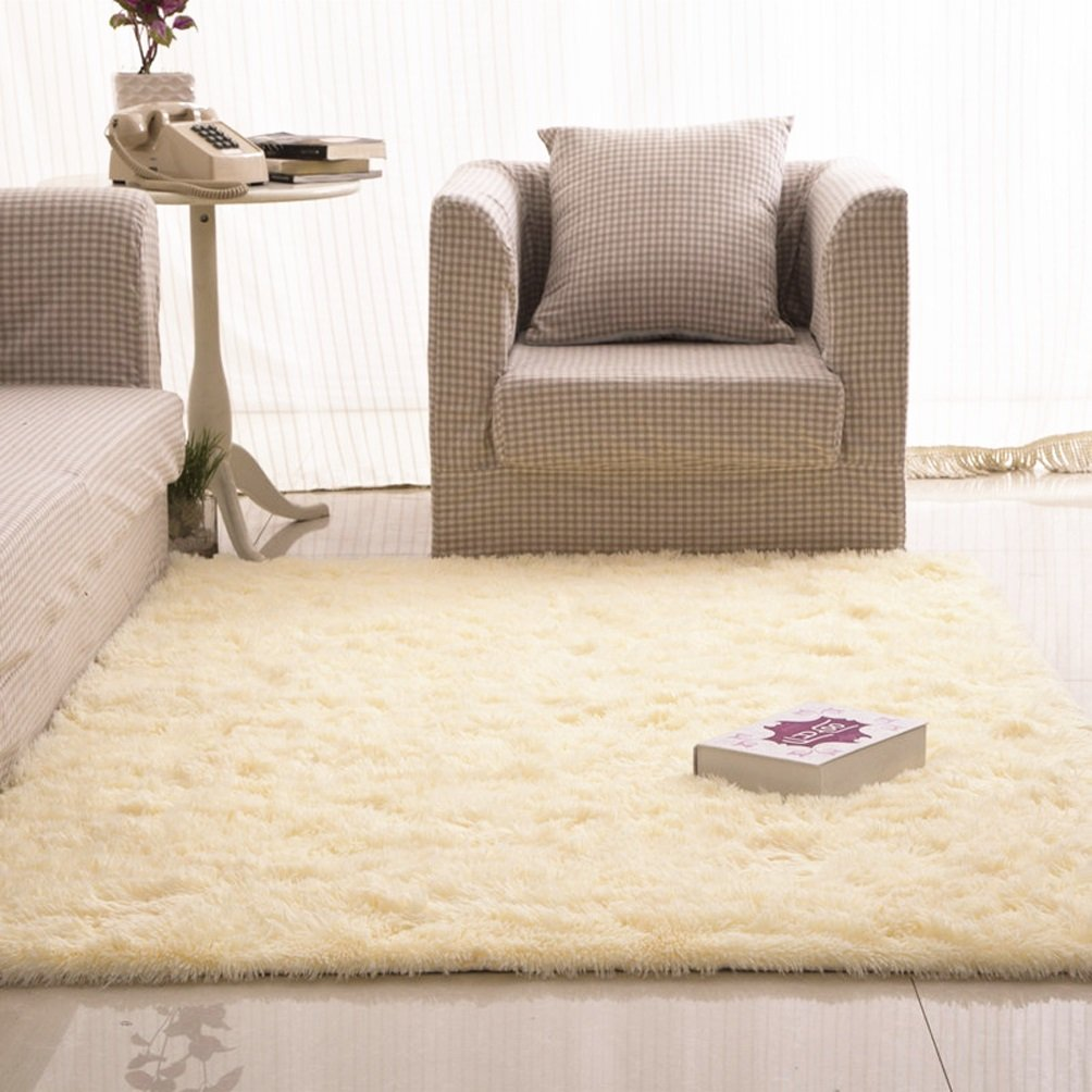 WAN SAN QIAN- Children Bedroom Carpet Living Room Carpet Sofa Europe Princess Rectangle Blended Carpet Long Hair Coarse Shag Rug Rug ( Color : Cream color , Size : 160x250cm )