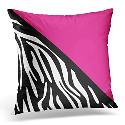 Pillow Cover Black Stripes Stylish Zebra Pink Striped Home Decorative Square Throw Pillow Cushion Cover 16x16 Inch Pillowcase