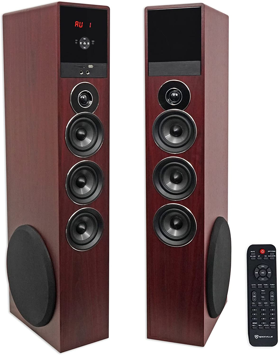 Amazon Com Rockville Tm150c Cherry Powered Home Theater Tower Speakers 10 Sub Blueooth Usb Home Audio Theater